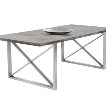CARTER GREY CONCRETE TOP DINNING TABLE