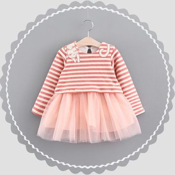 Autumn Long Sleeved Baby Infants Girls Kids Tutu Cute Cartoon Cat Striped Mesh Patchwork Princess Ball Gown Dress Vestidos S5752