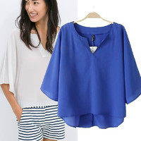 Summer V-neck Half-sleeve Pullover Shirt Bat Tops Chiffon T-shirts [5013370180]