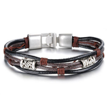 Genuine Leather Bracelet with Bronze Alloy Buckle
