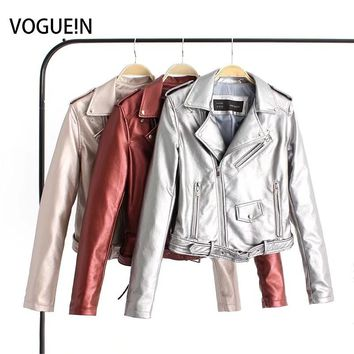 VOGUEIN New Womens Ladies Bright Color Faux Leather Motorcycle Bomber Jacket Coat Size SML Wholesale