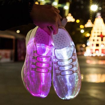 Summer Led Fiber Optic Shoes for  men women USB Recharge glowing Sneakers Man light up shoes adults size 34-46 tenis feminino