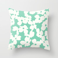 Dogwood: Mint Green Throw Pillow by Eileen Paulino