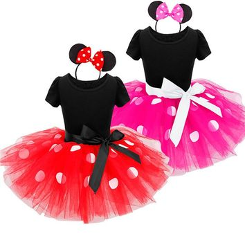 Baby Girl Christmas Dot Dress Children Princess Cartoon Minne Party Kids Tutu Dresses infantil Vestidos Head bands Clothing Set
