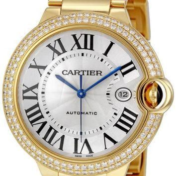 VLX9RV Cartier Ballon Bleu Silver Dial 18K Yellow Gold Mens Watch WE9007Z3