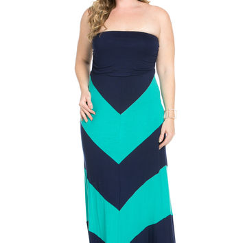 Strapless Long tube Dress  Navy/Teal Cause You're Chevron