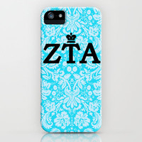 Zeta Tau Alpha Blue & Black Vintage Crown iPhone & iPod Case by SororityProject