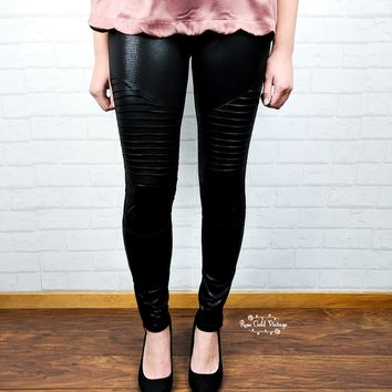 Textured Shiny Moto Leggings - Black