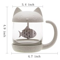 Carlie Cute Cat Glass Cup Tea Mug With Fish Tea Infuser Strainer Filter