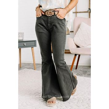 Run The Show Grey Flared Jeans