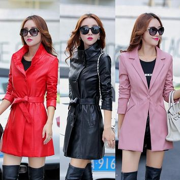 Women jacket genuine leather female spring and autumn sheepskin clothing medium long trench outerwear in black red yellow pink