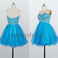 Custom Blue Beaded Short Prom Dresses Short Evening Gowns Wedding Party Dress Fashion Party Dress Bridesmaid Dresses 2014 Dress Party