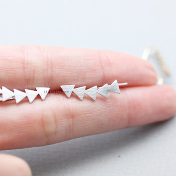 Geometric triangle in line Earcuff, Ear Crawler,Climber,Ear cuff style Stud Earrings, E0838S