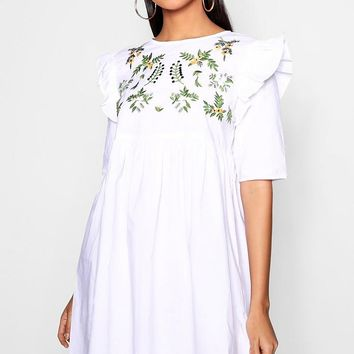Jess Embroidered Smock Ruffle Dress | Boohoo