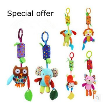 Baby Rattles & Pendant with Teether baby toys dog/Elephant/owl/monkey/lion/Cat animals dolls Stroller crib hanging wind chimes