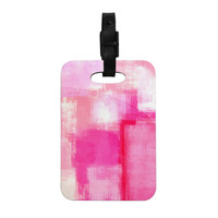 "CarolLynn Tice ""Running Late"" Pink White Decorative Luggage Tag"
