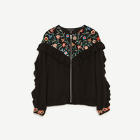 EMBROIDERED JACKET WITH FRILLS DETAILS