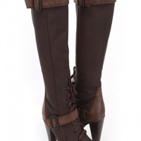 Brown Faux Leather Snake Skin Knee High Boots