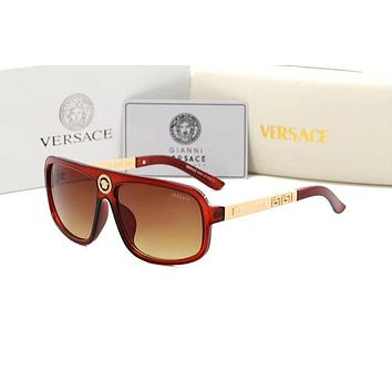 Versace Trending Women Men Personality Shades Eyeglasses Glasses Sunglasses Brown I-BCYJSH