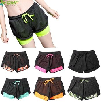 Dry Fit Women Fitness Gym Workout Running Shorts 2 In 1 Sport Yoga Sweat Shorts Skinny Compression Training Shorts Stretchy Slim