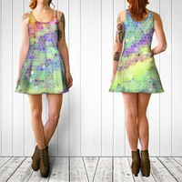 Women's Art Fitted or Flare Dress Color Blast 1 Modern photography Spring Summer Fashion pink green blue purple yellow white mod aqua neon