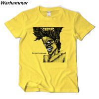 Punk T shirt Mens Fashion 2017 The Cramps Rock Roll Tee Shirt Homme Print Cotton 3D Tshirt Gifts Loose Style XS-2XL Yellow Tops