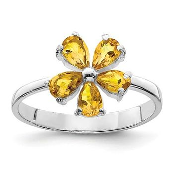Sterling Silver Genuine Pear Citrine Flower Ring
