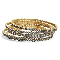 Women's Freida Rothman 'Visionary' Stackable Bangles - Gold/ Gunmetal/ Clear (Set of 5)