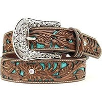 Tooled Turquoise Leather Inlay Belt