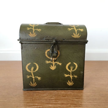 Small dark green painted metal trunk for decor or storage