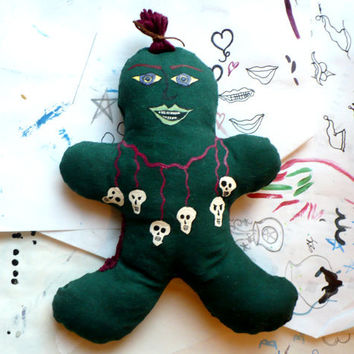 Gingerbread Zombie Cloth Doll - Redneck Zombie - Hand Painted - Cotton Filled - Art Doll - OOAK