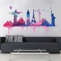 World Travel vinyl sticker - Moon Wall Stickers