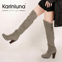 KarinLuna Big size 34-43 New Women Knee High Boots Sexy Chunky High Heels Add Fur Winter Autumn Shoes Platform Snow Knight Boots