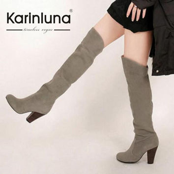 KarinLuna Big size 34-43 New Women Knee High Boots Sexy Chunky High Heels Spring Autumn Shoes Round Toe Platform Knight Boots