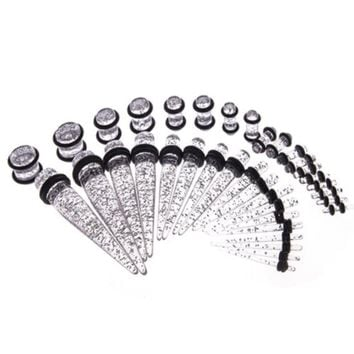 BodyJ4You Gauges Kit 18 Pairs Clear Glitter Acrylic Tapers & Plugs 14G 12G 10G 8G 6G 4G 2G 0G 00G 36 Pieces