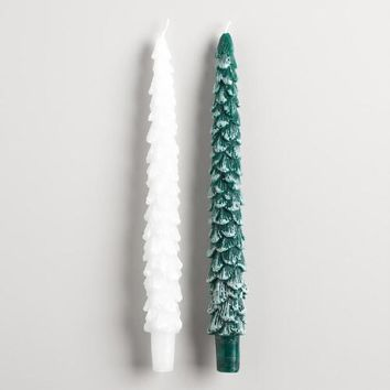 Christmas Tree Taper Candles Set of 2