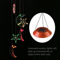 Color-Changing LED Solar Wind Chime with Star and Moon Shapes and Solar-Powered Illumination at Night