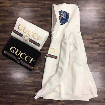 """Gucci"" Unisex Fashion Wolf Head Embroidery Hooded Long Sleeve Sweater Couple Thickened Pullover Hoodie Tops"
