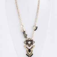 TRIBAL DESIGN ORNATE WITH TASSEL DROP LONG NECKLACE