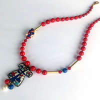 VALENTINE'S DAY SALE- Ottomans Necklace - Gemstone- Necklace With  Coral Stones And A Caftan Made Of Tile - Birthday Gift- Turkish Necklace