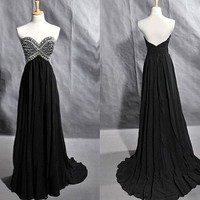 Strapless Sweetheart Chiffon Beaded Beading Crystals Prom Dress