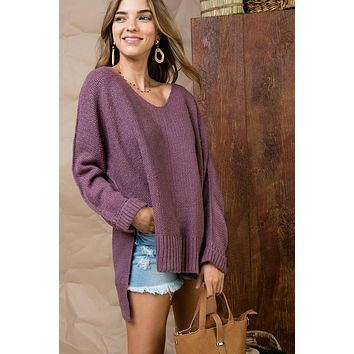 High Low Sweater - Lilac