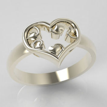 Valentines Day Ring Heart shaped Ring with smaller curly Hearts inside made of Sterling Silver
