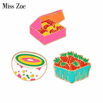 Cartoon gift box cookies strawberry rainbow bowl pins Brooch Denim Jacket Pin Buckle Shirt Badge Gift for Kids girls