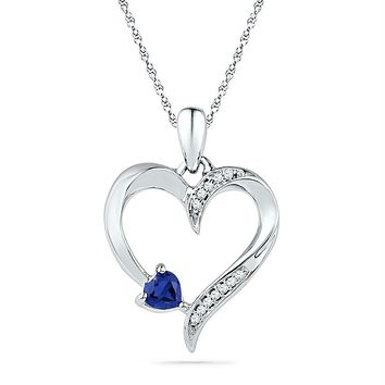 10kt White Gold Womens Round Lab-Created Blue Sapphire Heart Love Pendant 1-20 Cttw
