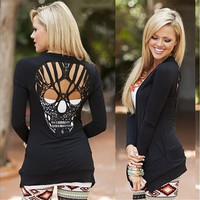 New Fashion Skull Thin Long Sleeved Cardigan Causual Tops Loose Pure Colored Women's Blouse [8833542220]