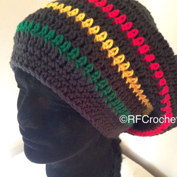 In Stock | XXL Rasta Beanie | Tam | Dreadlock Hat | Warm | Free USA Shipping | Unisex | 25+ Inches | Adults | Slouchy | Locs