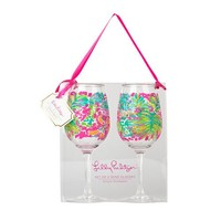 Acrylic Wine Glasses in Spot Ya by Lilly Pulitzer