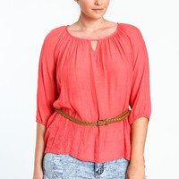 Plus Size Oversize Top With Braided Belt