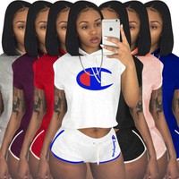Champions Women 2 piece sports set gym pullover hooded short sleeve t-shirt leggings bodycon shorts above knee summer clothing plus size 181